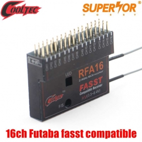 Cooltech RFA16 16ch Futaba fasst compatible receiver for 10CG 12FG 14MZ 14SG 16SZ 18MZWC